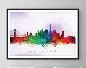 San Francisco Skyline, San Francisco California Cityscape Art Print, Wall Art, Watercolor, Watercolour Art Decor