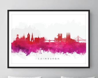 Edinburgh Skyline, Edinburgh Scotland Cityscape Art Print, Wall Art, Watercolor, Watercolour Art Decor [SWEDI09]