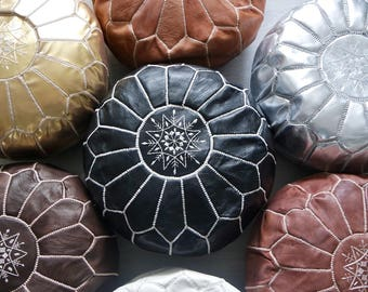 Leather Moroccan Pouffe - Mixed colours