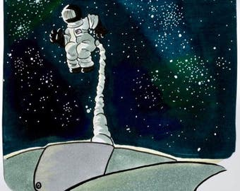 Astronaut Floating Though Space