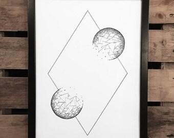 White Space 3, A3 Art Print, Hand Drawn, Original Art