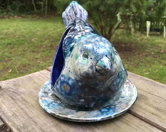 Bluebird Bird-feeder, ceramic bird feeder, whimsical bluebird