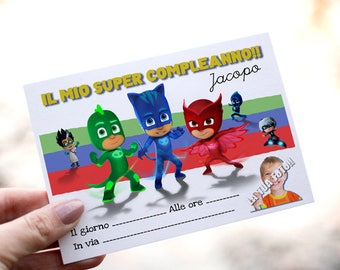 Super birthday invitations for baby Pyjamas Pj Masks. Customizable with photo and name.