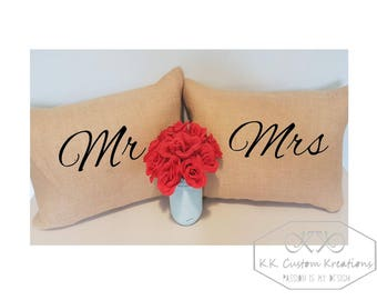 Mr & Mrs  Custom Pillow- Burlap Pillow-Canvas Pillow-Custom Decorative Pillow-Wedding Pillow- Anniversary-Any Occasion- Pillow with Insert
