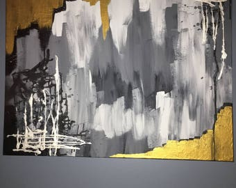 Black white and gold abstract painting