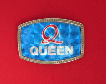 Vintage Queen Men's Belt Buckle, 1970s Buckle, Souvenir Gift Idea