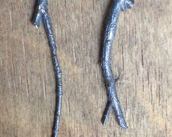 UnEarthed twig stud earrings, handmade from sterling silver. Organic and unique.