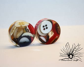 butons Epoxy Tunnels Plugs Handmade Wooden Ear Plugs Gauges, make your own style and image, minimum size 16 mm