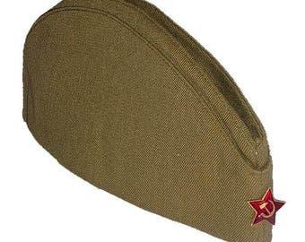 Soviet Russian garrison cap, USSR garrison cap, Military soldier's garrison cap, Made in USSR