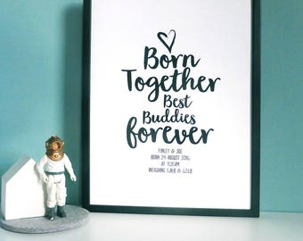 Personalised Twins Baby Print