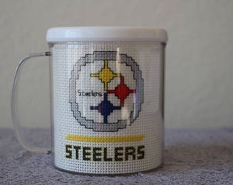 """Finished Counted Cross Stitch NFL """"Pittsburgh Steelers"""" White Rimmed Mug, Perfect Original Gift For The Fan!"""