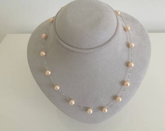 Pink Freshwater Pearl Station Necklace (7-8mm, AAA)