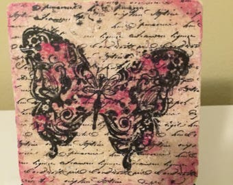 Butterfly in  pink Tile  Art with Easel