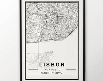 Lisbon City Map Print, Modern Contemporary poster in sizes 50x70 fit for Ikea frame All city available London, New york Paris Madrid Rome