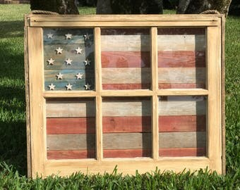American Flag reclaimed window wall art, patriotic wall hanging, 049