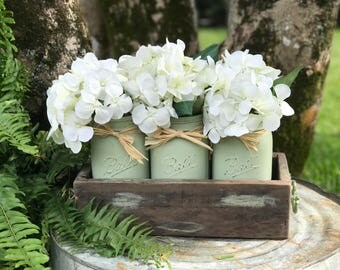 Painted mason jar with accent box, reclaimed wooden box, painted mason jars, 023