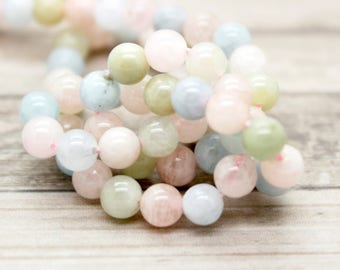 Natural Morganite Polished Round Beads Gemstone (4mm 6mm 8mm 10mm)