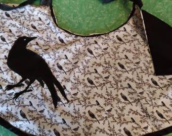 Women's Half Apron with Classy Crow Applique Pocket