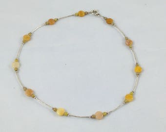 Yellow Carnelian and sterling silver necklace