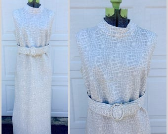 1960's Vintage Silver High Collar, Full Length Evening Gown || Shimmery Modest Maxi Dress with Belt