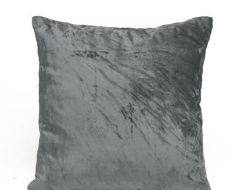 Grey Velvet Pillow Cover Gray Velvet Pillow Minimalist Pillow Velvet Throw Pillow Velvet Lumbar Pillow Gray Euro Sham Modern Decor