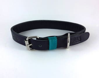 Genuine Leather Dog Collar - Navy & Aqua