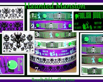 USDR 7/8 Foolish Mortal Haunted Mansion Glow in the Dark room one more Grosgrain Ribbon wallpaper face damask halloween costume decor party