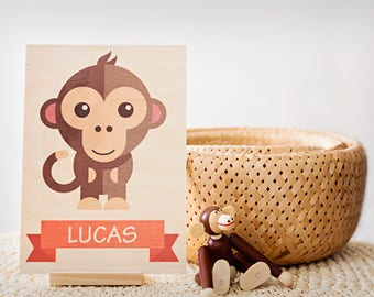 Personalised Children's Wooden Standing Name Print: Square (2 Sizes to choose from)