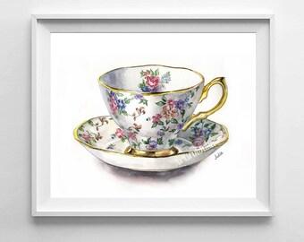 Flower teacup print, watercolor painting print, kitchen art