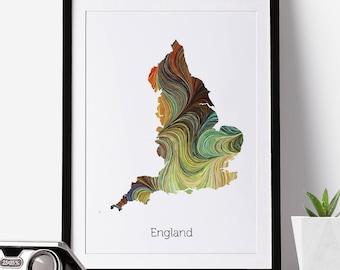 England Print, England Map, England, Office Decor, City Map Prints, Map Art