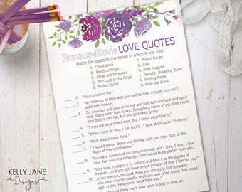 Purple Floral Bridal Shower Game - Famous Movie Love Quotes Cards - Bridal Shower Activity - Purple Floral - Printable Bridal Shower  PF01