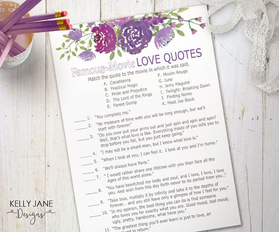 Purple Floral Bridal Shower Game Famous Movie Love Quotes Cards
