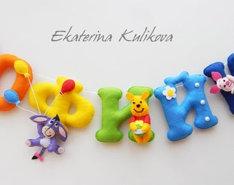 Felt name banner Baby name  Personalized name banner Personalized nursery garland Winnie the Pooh Disney Felt Winnie the Pooh and Friends
