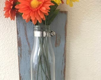 Rustic glass jar wall vase, distressed blue