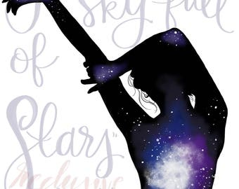 Sky Full of Stars, Coldplay lyrics, digital art, digital print, lyrics, quote, lyric art, decor