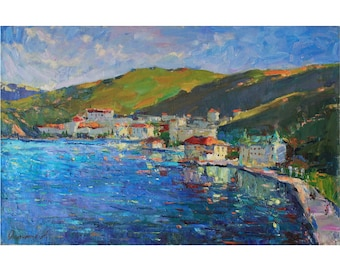 Seascape painting PLEIN AIR Original artwork Summer Oil landscape Sunny day painting Bright colors Original Oil on canvas by A. Onipchenko