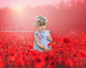 Poppy Fields Digital backdrop / background x 4 - Instant Download
