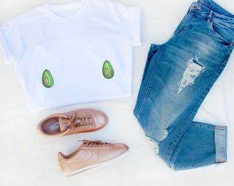 Shirt embroidered patches avocado avocado embroidery tits breasts, boobs tee shirt t shirt