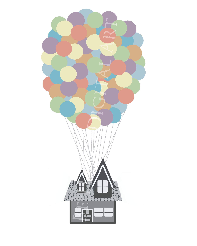 Vector Art Balloon House Clipart Digital Clipart Scrapbook ...