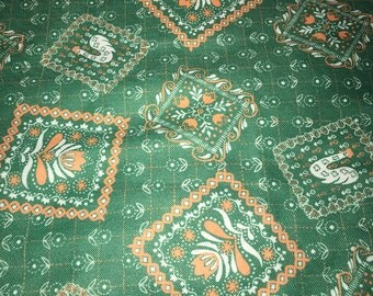 Vintage Poly Knit Fabric Green Peach with Geese