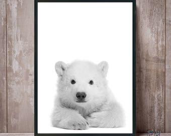 Polar Bear Print, Baby Polar Bear, Bear Black and White, Animal Print, Nursery Decor, Kids Room Print, Animal Decor, Bear Art, Bear Wall Art
