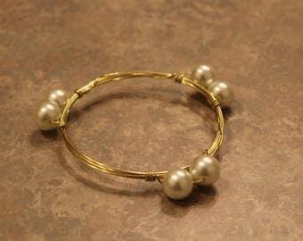 Pearl & Gold Wire Bangle Bracelet