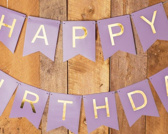 Happy Birthday Banner - Purple and Gold Foil - Birthday Decorations