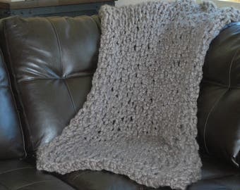 """Cozy Arm Knit Blanket in Taupe 27"""" x 56"""""""