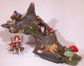Fairy Breezes OOAK Felted Fairy Garden House Swing Felted Fairy w/ Felted Animals