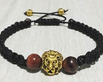 8mm red tiger's eye macrame bracelet