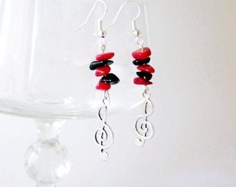 Onyx earrings, Coral earrings, red black earrings, music earrings, long hanging earrings, Women's Club Earrings,  Silver earrings, key Sol