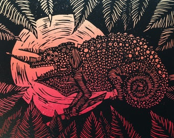 Chameleon in Red and Black, Hand Made Block Print