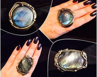Brass ring with labradorite