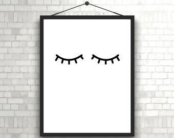 Sleepy Eyes, Scandinavian, Monochrome, Nursery Wall Art, Neutral, Black & White, Boy or Girl Playroom, Scandi, Eyelash Print, Nursery Prints